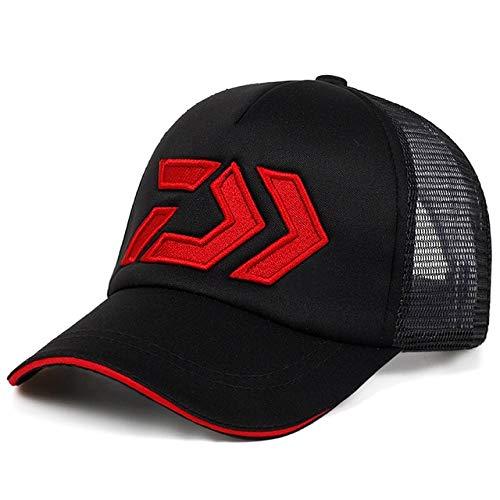 Nueva Gorra de Verano para el Sol, Visera de Malla Transpirable, ventilacin, Sombrero para el Sol Ajustable, Gorras de Marca de Pesca al Aire Libre para Hombre Daiwa-Black Red