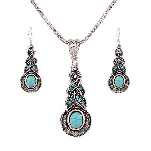 YAZILIND Regalo de la joyería de Plata tibetana de la Turquesa Encanto cristalino de la Mariposa del corazón Pendientes del Collar para la Mujer