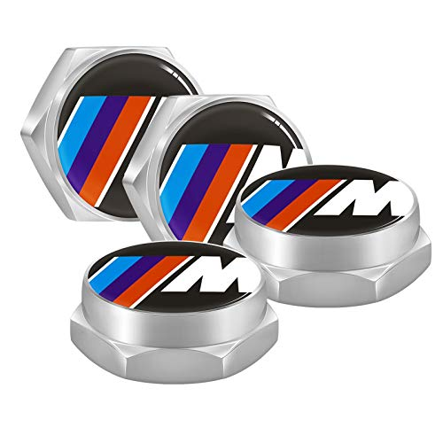 iNewcow License Plate Fasteners for BMW M Models - Sport M Chrome License Plate Frame Bolt Screws for BMW M2 M4 M5 M8 X3 X4 X5 X6 M (4PCS)