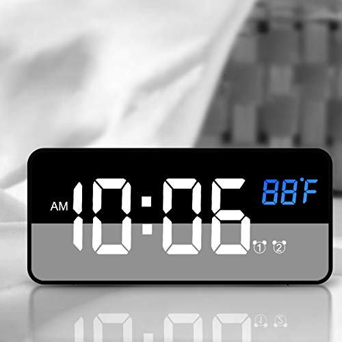 Nicewell Traveling Digital Alarm Clock Mini Size Black with USB Charging LED Time or Temperature Display, Snooze, Adjustable Brightness, Simple Operation, 12/24Hr