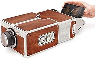 جهاز عرض الموبايل المحمول سينما صغيرة من الورق المقوى مسرح منزلي بجهاز عرض للهواتف الذكية لهواتف اندرويد/ اي او اس الذكية