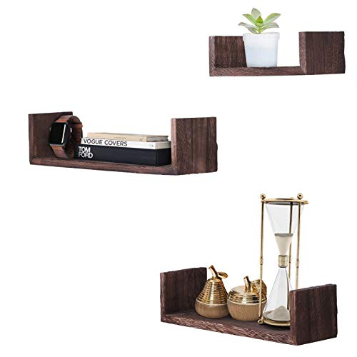 Comfify U-Shaped Floating Shelves - Brown