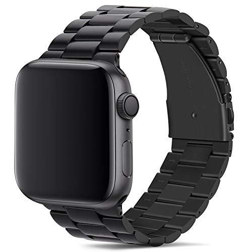 Tasikar para Correa Apple Watch 42mm 44mm Metal de Acero Inoxidable Correa de Repuesto Compatible con Apple Watch Series 6 Series 5 Series 4 (44mm) Series 3 Series 2 Series 1 (42mm) - Negro