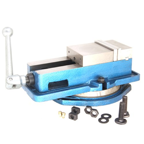 Milling Machine Lockdown Vise - 360 Degree Swiveling Base - Hardened Metal - CNC Vise - Install Bolt Included. Blue (4in)