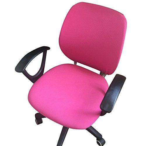 Pinji Housse de Chaise de Bureau Housse de Fauteuil Rotatif Extensible Amovible Housse de Chaise Séparée Universelle Rose Rouge