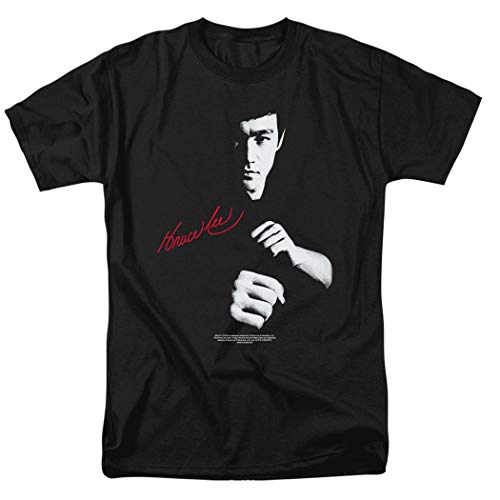 Bruce Lee The Dragon Awaits T Shirt & Stickers (X-Large) Black