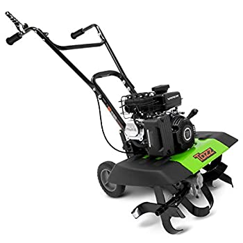 """Tazz 35310 2-in-1 Front Tine Tiller/Cultivator 79cc 4-Cycle Viper Engine Gear Drive Transmission Forged Steel Tines Multiple Tilling Widths of 11"""" 16"""" & 21"""" Toolless Removable Side Shields,Green"""