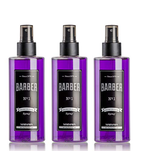 BARBER MARMARA No.1 Eau de Cologne Pump-spray Herren (3x 250ml) After Shave Men - Duftwasser - Rasierwasser Männer - Erfrischt kühlt - Herren Duft - Desinfizierend 70° Alkohol - (3x No.1)