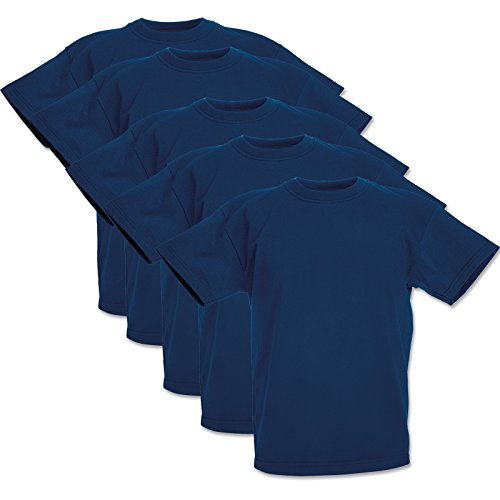 5 Fruit of the loom Kinder T-Shirts Valueweight 104 116 128 140 152 Diverse Farbsets auswählbar 100{5979cc47b9fdf2c6be620637d0facbf3dd9b2aa935a879f3ca93875dc534d4ab} Baumwolle (104, Navy)