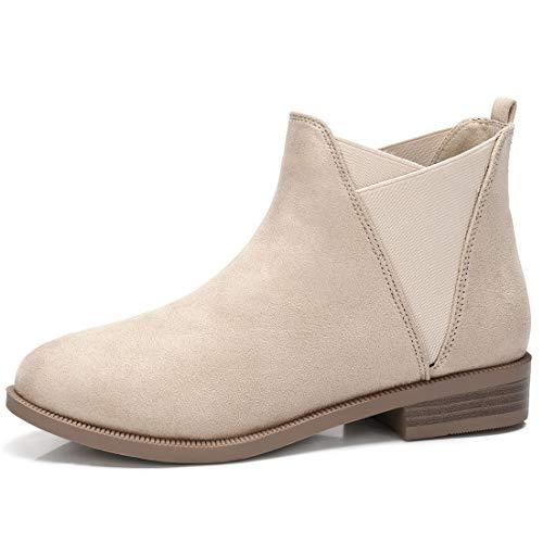 CAMEL CROWN Chelsea Boots Damen Ankle Boots Slip-On Stiefeletten Flache Blockabsatz Stiefel Klassisch Komfortable Rutschfest für Daily Casual Beige,42EU