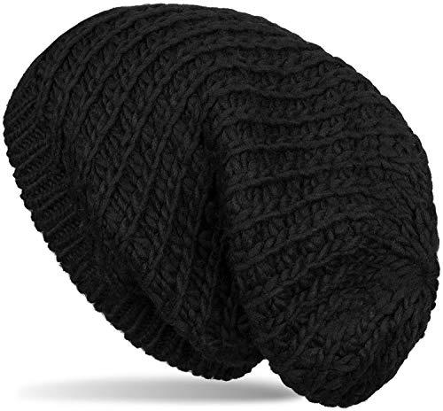 styleBREAKER Unisex Strick Beanie Mütze grob gestrickt, Slouch Longbeanie, Grobstick Winter Strickmütze 04024158, Farbe:Schwarz