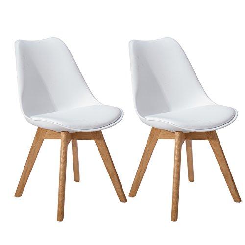 EGGREE 2er Set Esszimmerstühle Skandinavisch Küchenstuhl Stühle Modern mit Massivholz Eiche Bein und Kunstlederkissen, Weiß