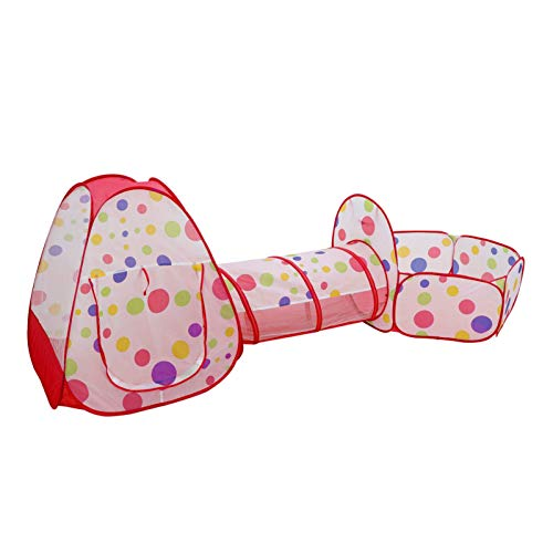 Queiting Three-In-One Children's Play Tent Pop-Up Foldable Washable Pop-Up Can Be Used For Baby Games Toddler Crawling Tunnel Ball Pool Boys And Girls Indoor And Outdoor Use Red