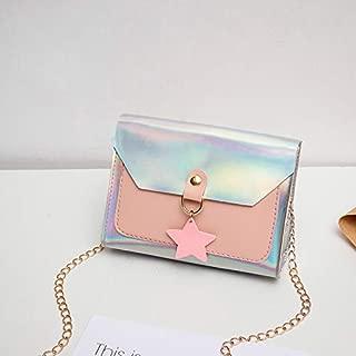 Fashion Bright Leather Star Pendant One Shoulder Chain Crossbody Mobile Phone Envelope Bag (Pink) Girls Handbag