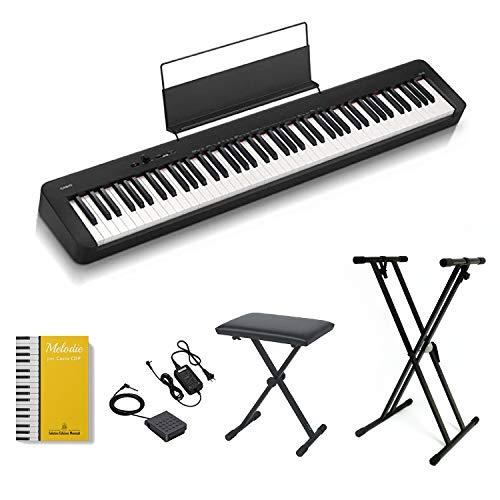 CASIO CDP-S100 Piano Digitale 88 Tasti Pesati, stand con ghiera e panchetta con altezza regolabile ffalstaff , alimentatore e pedale, Libro di melodie celebri per Casio