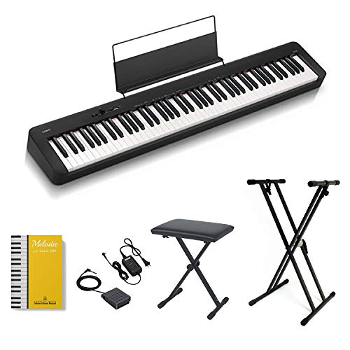 CASIO CDP-S100 Piano Digitale 88 Tasti Pesati, stand e panchetta ffalstaff ®, alimentatore e pedale, Libro melodie per Casio