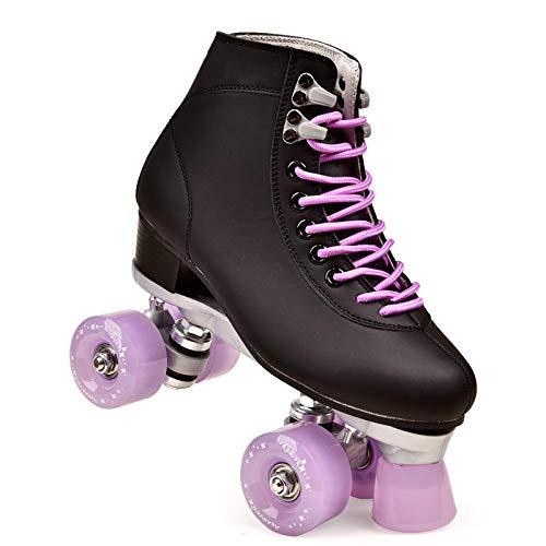 Zjcpow Roller Skates Dytxe Quad for niñas y Mujeres al Aire Libre, Cubierta y Pista de Patinaje, clásico de Alta Manguito con el Sistema de Encaje Ajustable, púrpura, 41 xuwuhz