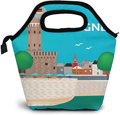 Cartel de viaje de la ciudad de Colonia Alemania Bolsa de almuerzo aislada Caja Bento personalizada Enfriador de picnic Bolso portátil Bolsa de almuerzo para mujeres, niñas, hombres, niños