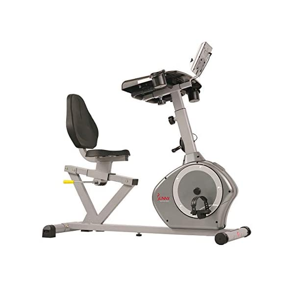 Sunny Health & Fitness Magnetic Recumbent Desk Exercise Bike, 350lb High Weight Capacity, Monitor – SF-RBD4703,Gray