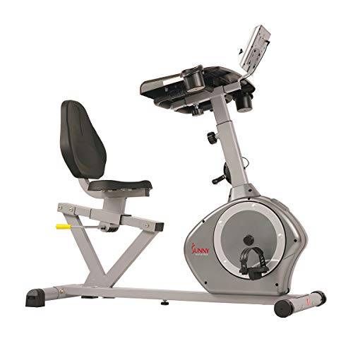 Sunny Health & Fitness Magnetic Recumbent Desk Exercise Bike, 350lb High Weight Capacity, Monitor - SF-RBD4703,Gray