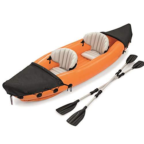 LK-HOME Kayak, Juego De Kayak Inflable Doble, Material Plástico De 0,57 Mm De Espesor, con Remos De Aleación De Aluminio, Canoa De Pesca Unisex, Carga De 160 Kg, 321 × 88 Cm