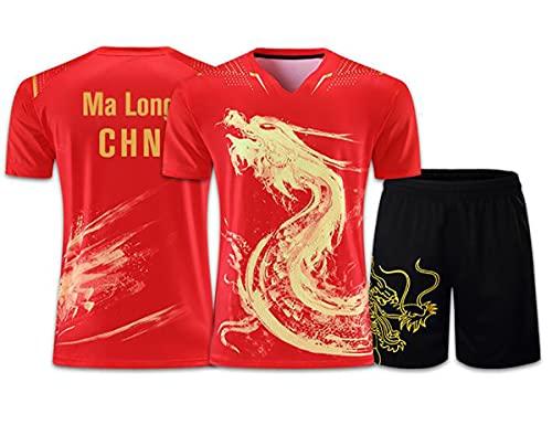 Chinesische Drachen Tischtennis-Trikots für Männer Frauen Kinder tragen, Ping-Pong-Anzüge, China Tischtennis-Shirt, Ping-Pong-Sets T-Shirts & Shorts,XXXXL Red,