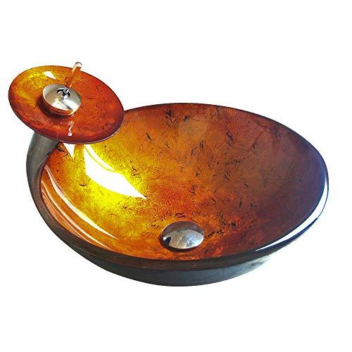 HomeLava Modern Waschbecken Set Rund Gold Gehärtetes Glas Aufsatz Waschschale (Ohne Wasserhahn)