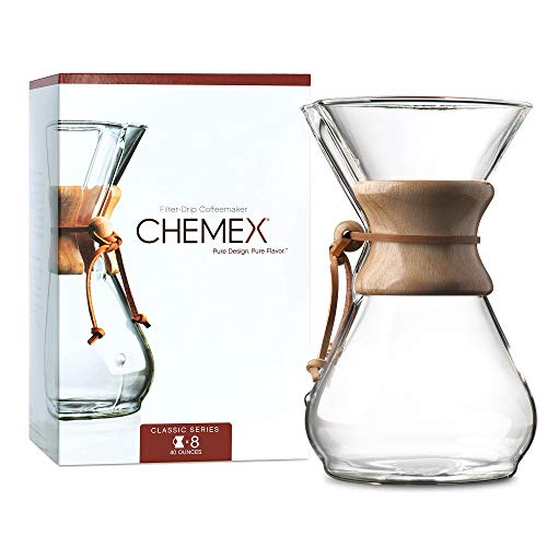 Chemex Pour-Over Glass Coffeemaker - Classic Series - 8-Cup