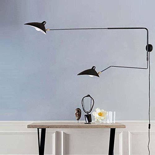 E14*2 Applique Murale Bras Long Réglable Noire Vintage Industrielle Lampe Murale 1,8m Câble avec Interrupteur et UE-Prise Plusieurs Directions Flexible Lampe de Lecture Lampe de Lit,120+65cm