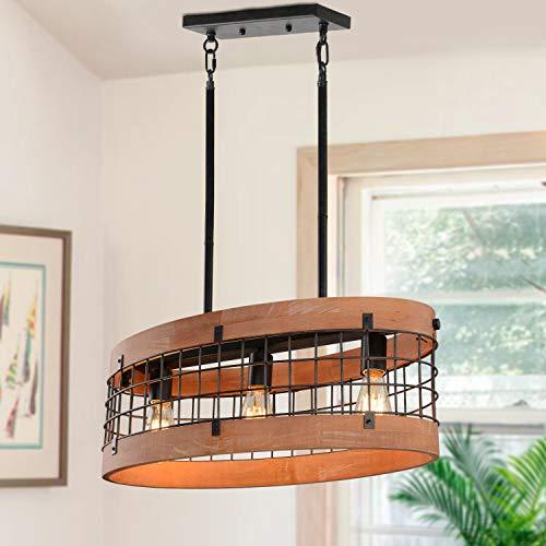 Giluta Rustic Chandelier Oval Wood Frame Mesh Cage Pendant Light Fixture Farmhouse Kitchen Chandelier Edison Hanging Ceiling Light 3 Lights, Brown (C0062)