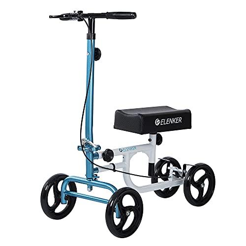 ELENKER Economy Knee Walker Steerable Medical Scooter Crutch Alternative White and Blue