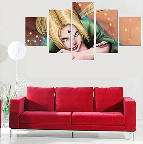 BHJIO 5 Piezas Cuadro sobre Lienzo Imagen Anime Impresión Pinturas Murales Decor Fotos para Salon Dormitorio Baño Comedor Regalo 80X150Cm