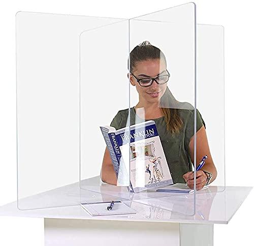 KMILE Protector antiestornudos para mostrador, protector de escritorio, pantalla de acrílico transparente para escuelas, encimeras, restaurantes (tamaño 120 x 60 x 55 cm)