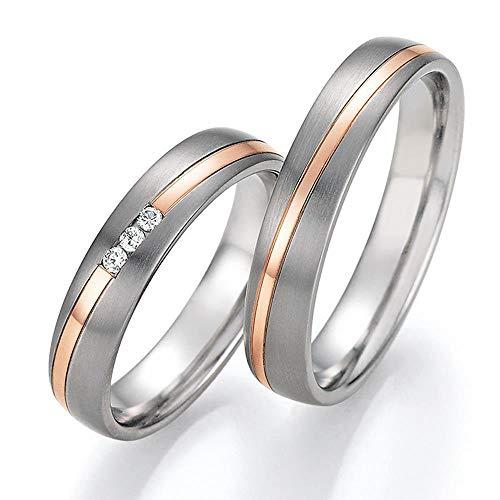 CORE by Schumann Design Trauringe Eheringe aus 585 Gold (14 Karat) Rotgold/Titan mit echten Diamanten GRATIS Testringservice & Gravur 20003715