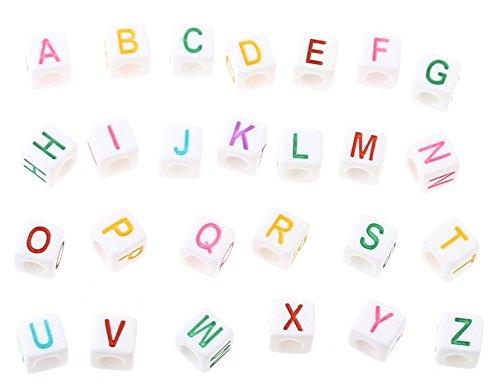 300unidades Dados Letra perlas Alfabeto variadas en envase 6x 6mm Color Blanco con letras multicolor