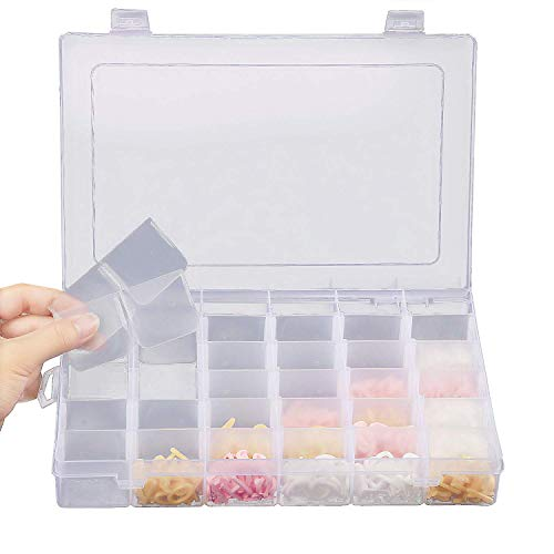 36 Grids Jewelry Organizer Plastic Jewelry Storage Container Box with Adjustable Dividers Perfect for Storing EarringsRings Beads Mini Accessries Goods108 x 688 X 157 In 36 grids box
