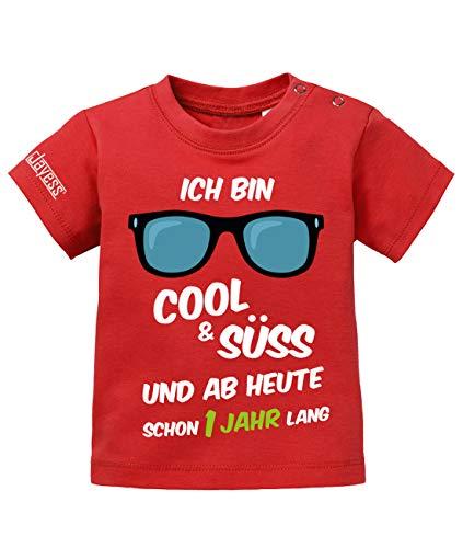 Jayess Baby Shirt Jungen zum 1 Geburtstag - ich Bin cool und süß und ab Heute Schon EIN Jahr lang - in Rot Gr. 92/98