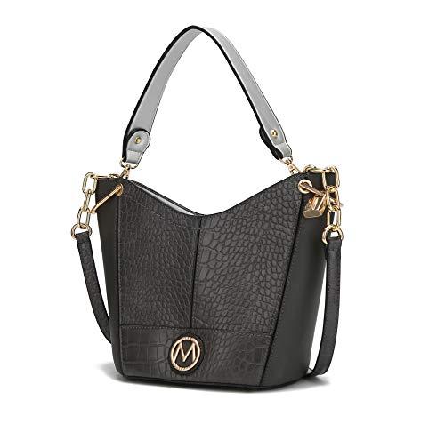 MKF Crossbody Hobo Bag for Women Purses and Handbags – PU Leather Top Handle Pocketbook Fashion – Shoulder Strap Charcoal Grey
