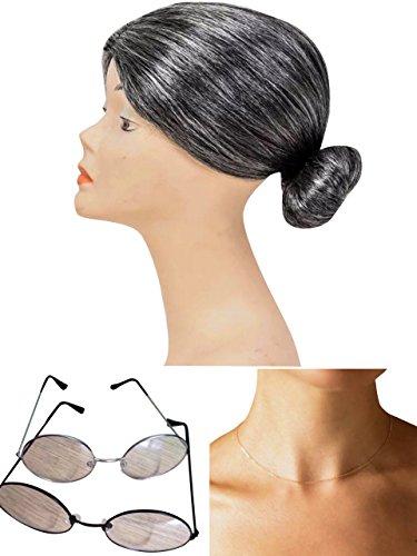 thematys® Abuela Abuelita Peluca + Gafas + Collar - Disfraz de ...