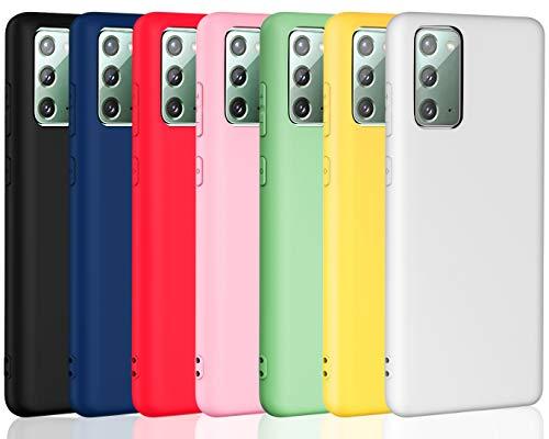 iVoler 7 Pezzi Cover per Samsung Galaxy Note 20 (5G), Ultra Sottile Silicone Custodia Morbido TPU Case Protettivo Gel Cover (Nero, Blu, Verde, Rosa, Rosso, Giallo, Bianco)