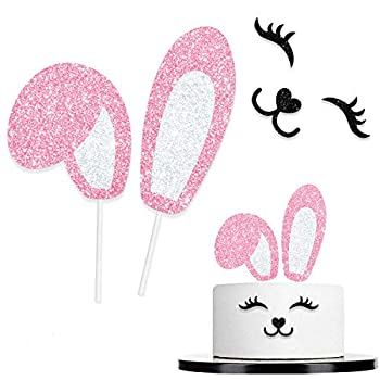 Bunny Ears Cake Topper Decorations Pink Glitter with Eyelashes Nose Picks for Easter Rabbit Theme Happy Birthday Spring Easter Party Decor Supplies