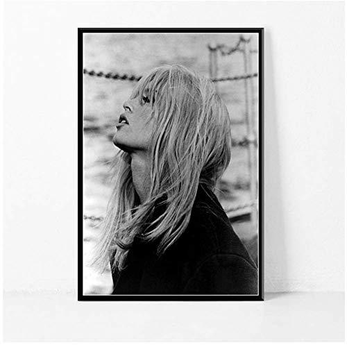 A&D Brigitte Bardot Filmstar Schauspielerin Modell Schwarz Weiß Poster Und Drucke Bild An Der Wand Vintage Poster Home Decor-50x70cmx1pcs-Kein Rahmen