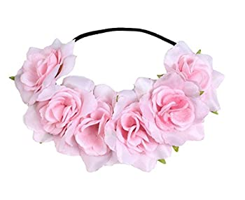 Floral Fall Rose Holiday Christmas Crown Festival Headbands Hippie Flower Headpiece F-53  Pink