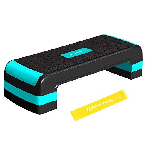 SONGMICS Steppbrett für Aerobic, Stepper mit Widerstandsband, höhenverstellbare (10/15/20 cm) Plattform, 78 x 31 cm Stepbench für Fitness, Workouts zu Hause und im Büro, schwarz-türkisblau STE784Q01