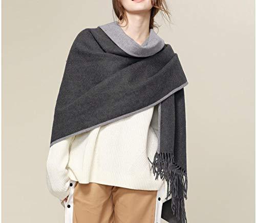 Dikke dubbelzijdige lamskasjmier, airconditioning grote sjaal, lente en herfst en winter, vrouw, oversized, lichtgrijze sjaal, dual-use, wol
