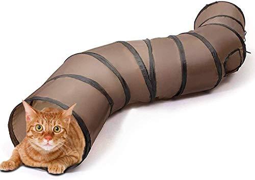 猫 おもちゃ キャットトイ ネコトンネル ペット玩具 猫おもちゃ 折りたたみ可能 水洗い可能 S型 2穴付きキ...