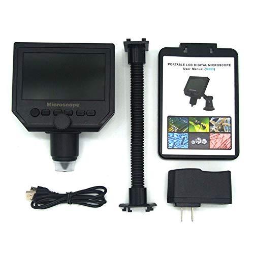 CNmuca G600 8LED 600X USB Digital Microscópio Microscópio eletrônico de mão com suporte de régua de medição preto