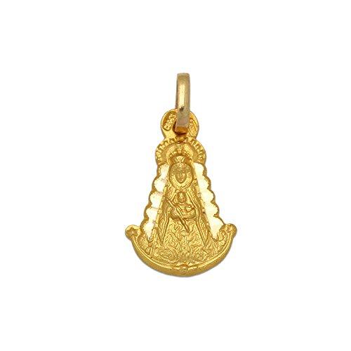 Minoplata Medalla Silueta pequeña Virgen del Rocío Oro 18 KL. Original Imagen Mariana romeros