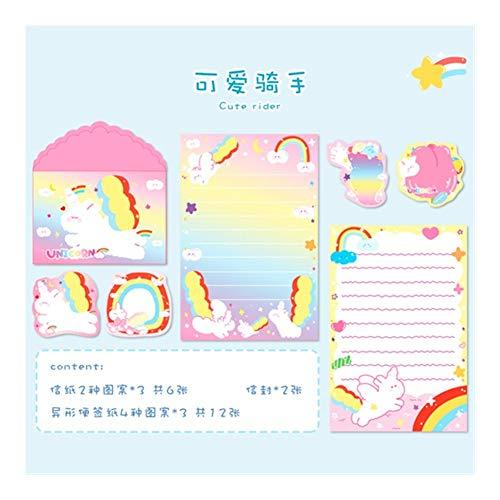BenedictGladysd 20 Piezas Set de Kawaii Arco Iris Lindo Conejo Carta del Gato Tarjeta de Mensajes de Sobres Sistema inmóvil del Regalo del Papel de Almacenamiento ( Color : 1 )