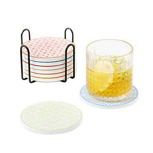 Vancasso Tasseuntersetzer Set, Natsuki Untersetzer Set,8 teilig Getränke-Untersetzer aus Hochtemperatur Verstärktem Porzellan und Kork mit Halter für Getränke, Gläser, Tasse, Becher (rund | 10.3cm)